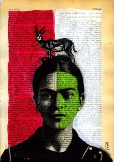 Frida Kahlo Art - Original Mixed Media Illustration - Acrylic Watercolor Print Vintage Paper Italian Dictionary. $9.00, via Etsy.