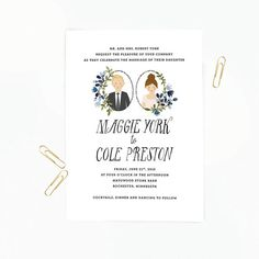 The handwritten font below the individualized portraits makes this stationery feel even more personal. | The 25 Most Beautifully Illustrated Wedding Invites