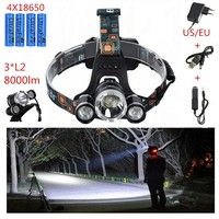 Wish | 8000Lm Brightness 3 X CREE XML-L2 LED Headlight Headlamp Lamp Light + 4 X 18650 Battery+Car Charger+Charger+USB Cable TD-5845