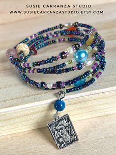 Frida Memory Wire Bracelet. Variety of beads: glass acrylic