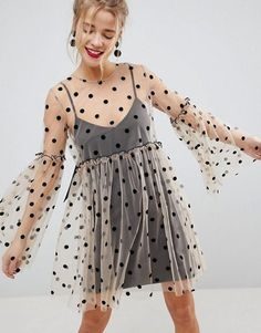 online shopping for ASOS Sheer Smock Mini Dress Spot Mesh from top store. See new offer for ASOS Sheer Smock Mini Dress Spot Mesh 60s Fashion Trends, Style Fashion, Fashion Women, Fashion Brands, Lingerie Look, Polka Dot Mini Dresses, Sheer Clothing, Super Cute Dresses, Stylish Clothes