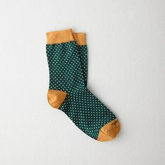 Green and gold polka dot socks -- #SicEm!