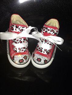 Toddler Custom Leopard Converse (Red Chucks) With Swarovski