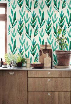 Green leaves removable wallpaper   Etsy