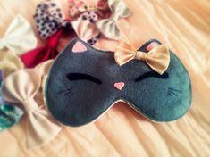 Cat eye sleep mask - Cute kawaii kitty sleep mask - Plush cat - Pink bow cat soft eye pillow - Natural SUPER SOFT kids adults eye mask