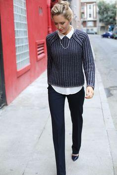 e tommy hilfiger grey navy striped varsity crewneck sweater silk collared blouse layered flare leg dress pants work wear fashion blog memorandum mary orton san francisco