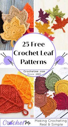 Crochet Leaf Free Pattern, Crochet Thread Patterns, Crochet Pumpkin Pattern, Crochet Applique Patterns Free, Pumpkin Applique, Halloween Crochet Patterns, Crochet Leaves, Crochet Motif, Crochet Flowers