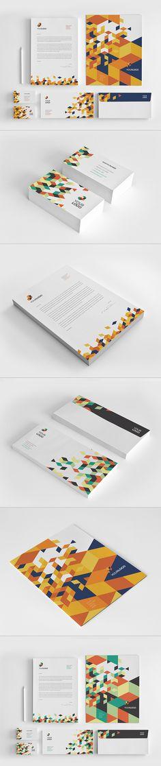 Square Orange Pattern Stationery by Abra Design, via Behance