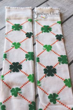 St. Patricks Day Legwarmers for Baby Girl or Boy, Toddler, Child. White with Clovers. Baby leg warmers. Handmade. $8.00, via Etsy.