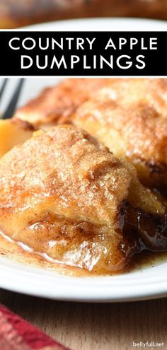 These Easy Country Apple Dumplings are soft and gooey on the bottom, but crispy on top, and they taste like apple pie. So easy and ridiculously good. Plus the house smells amazing while they bake! #appledumplings #appledumplingswithcrescentrolls #easyappledumplings #easyappledumplingswithcrescentrolls #easyappledesserts