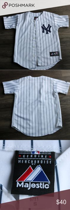 NY Yankees Button Down Jersey Small Majestic brand. Authentic NY Yankees. S. Button Down Jersey. Blank back. Sports. MLB. Very tiny orange spot, seen in picture 4. Smaller than my fingernail. Majestic Other