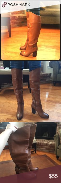 Vince Camuto Brown Boots New without tags. This is a re-posh. The boots are slightly too small for me or I wouldn't be selling them. They are a size 5 and are very cute! Vince Camuto Shoes Heeled Boots