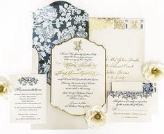 """Southern Fried Paper on Instagram: """"Finally able to share this beautiful invitation! The engraved 4 ply with gold beveled edge and custom watercolor liner is one of our favorites! Photo by @artsandrecreation"""""""