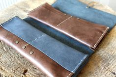 Grey leather wallet leather long wallet long by AdeLeatherGift