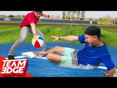 In this video, we play a game of baseball with a beachball! We lined the basepath with soap so we would slip when we try and Justin Gray, Team Edge, Slip N Slide, Instagram Challenge, Baseball Training, Tennis Clubs, Fun Challenges, Funny Jokes, Baseball Cards