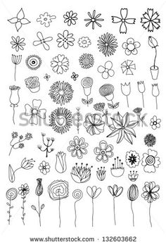 Set Of Flower Doodles Stock Vector Illustration 132603662 : Shutterstock