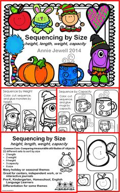 Sequencing by Size: Height, Length, Weight, Capacity  ***Common Core- Compare and order measurable attributes of objects  ***22 different sets to sort by size  ***Many holiday or seasonal themes including Christmas, Valentines, BTS, Winter. ***Great for Pre-K, Kindergarten, Home School, English Language Learners  ***Differentiation for some themes.