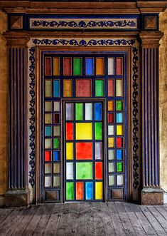 ART DESIGN: Door glass tile squares entrance door #door