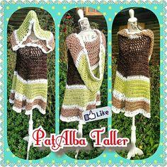 Poncho tejido a crochet con capucha grande ☕✌ #PatAlbaTaller #diseñodeautor #emprendedora #artesana #handmade #tejidos #crochet