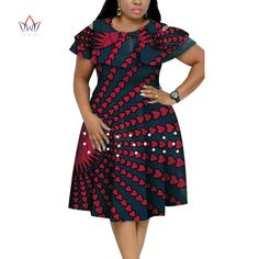 New Bazin Riche African Ruffles Collar Dresses for Women Dashiki Print Pearls Dresses Vestidos Women African Clothing African Dresses Plus Size, African Dresses For Kids, Latest African Fashion Dresses, African Dresses For Women, African Print Dresses, African Attire, African Dress Designs, Modern African Dresses, Ankara Fashion
