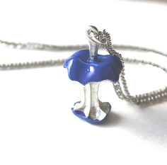 Necklace candy apple cobalt blue eaten core by Bunnys on Etsy, $26.00