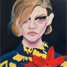 A painting by Gill Button inspired by Dries Van Noten's Fall 2014 collection.