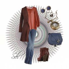 """rust & denim"" by selenitabr on Polyvore"