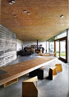 Juliaan Lampens - House Velghe, Vanderlinden, plywood ceiling and concrete structure... hard to beat...:
