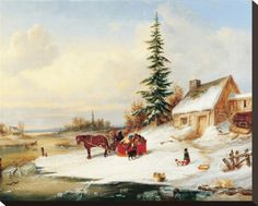 Habitants by a Frozen River Stretched Canvas Print by Cornelius Krieghoff at AllPosters.com