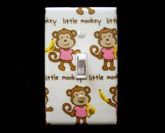 Little Monkeys Light Switch Cover Pink Shirts Switchplate Switch Plate Nursery Girls Bedroom