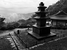 Mist hangs in the mountains after a thunderstorm. Buseoksa Temple, Yeongju.
