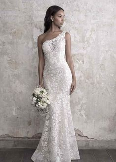 madison james fall 2018 bridal sleeveless one shoulder full embellishment elegant fit and flare wedding dress chapel train mv -- Madison James Fall 2018 Wedding Dresses Fit And Flare Wedding Dress, Fall Wedding Dresses, Bridal Dresses, Bridesmaid Dresses, Dresses Dresses, Event Dresses, Mermaid Dresses, Dresses Online, One Shoulder Wedding Gowns