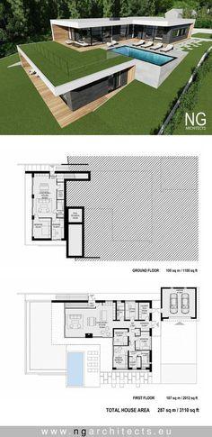 modern house plan villa Bjared desgned by NG architects Tiny House Plans, Modern House Plans, House Floor Plans, Villa Plan, Contemporary Bedroom, Contemporary Architecture, Contemporary Style, Contemporary Building, Contemporary Wallpaper