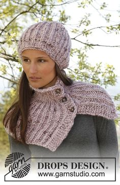 """Knitted DROPS hat and #neck warmer in English rib with buttons in """"Eskimo"""". ~ DROPS Design"""