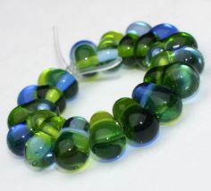 Mix Set of 16 Green and Blue Rondelles от GlassNatalyaDarlin
