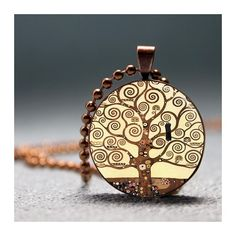 Artyscapes Gustav Klimt Tree Of Life Resin Pendant Necklace - End Of Summer Sale ($11) found on Polyvore