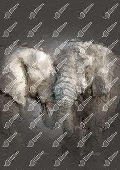 Palette Knife, Text You, Elephant, Elephants