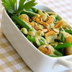 Green Beans With Mustard Cream Sauce and Toasted Almonds - Allrecipes.com