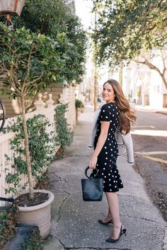 Gal Meets Glam Adding Polka Dots Back Into Your Closet - Milly Dress, Paul Andrew Pumps, Simon Miller Bag #sponsored #Nordstrom