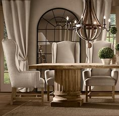 Belfort Wingback Upholstered Dining Chair | Fabric Arm & Side Chairs | Restoration Hardware