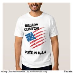 Hip Hop Urban Style Mens Cotton Vote For Hillary Clinton for President 2016 White T-Shirt. (New) (Fashion)