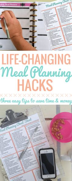 These Easy Meal Planning Hacks are life-changing! I've been meal planning all wrong this whole time! Cut back big time on the amount of time you spend planning out your family's meals with these 3 easy tricks! Meal Planning | Easy Dinners | Menu Plan | Meal Prep | Family Dinners | Easy | Healthy | Hacks | Meal Planner |