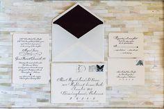 perfectly classic black + white calligraphy invitation   Stephen DeVries