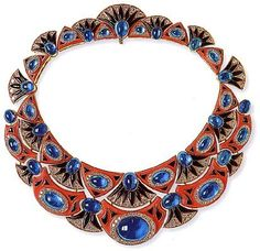 Bulgari Necklace. Coral, onyx, blue sapphire, diamonds.