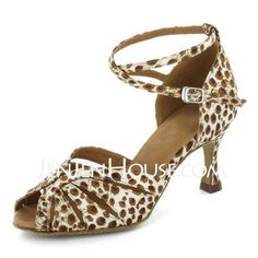 Dance Shoes - $69.99 - Women's Satin Fabric Heels Sandals Latin With Animal Print Ankle Strap Dance Shoes (053022324) http://jenjenhouse.com/Women-S-Satin-Fabric-Heels-Sandals-Latin-With-Animal-Print-Ankle-Strap-Dance-Shoes-053022324-g22324