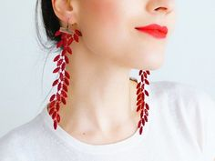 EARRINGS // Galeo // Statement Earrings/ Lace Earrings/ Red Earrings/ Dangle Earrings/ Long Earrings/ Leaf Earrings/ Fashion Earrings on Etsy, Lace Earrings, Lace Jewelry, Jewelry For Her, Fabric Jewelry, Chandelier Earrings, Dangle Earrings, Handmade Jewelry, Red Chandelier, Heavy Earrings