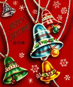 Vintage Christmas card for a son.