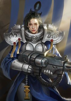 Order of the Blue Robe by yangzheyy female fighter mercenary soldier military army platemail armor clothes clothing fashion player character npc | Create your own roleplaying game material w/ RPG Bard: www.rpgbard.com | Writing inspiration for Dungeons and Dragons DND D&D Pathfinder PFRPG Warhammer 40k Star Wars Shadowrun Call of Cthulhu Lord of the Rings LoTR + d20 fantasy science fiction scifi horror design | Not Trusty Sword art: click artwork for source