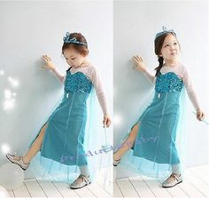 Girl Frozen Dress Disney Princess Queen Elsa Party Birthday Costume size  3-8Yrs Blue 22e5563a136a