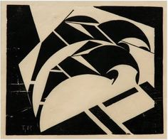 Thijs Rinsema, Two riders, linocut on Japanese paper (circa 1925)
